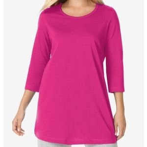 Woman Within LOT of 3  Pink Tunic 3/4 sleeves